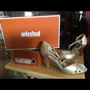 Gold open toe heels